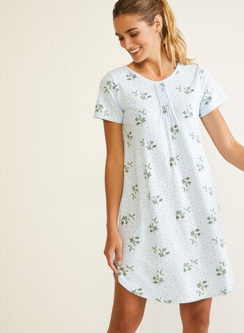 Floral Print Short Sleeve Nightshirt, Blue,  fall winter 2020, pyjama, nightshirt