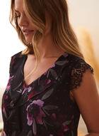Lace Detail Floral Print Blouse, Black