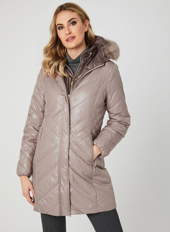 Marcona - Quilted Faux Down Coat, Pink, hi-res