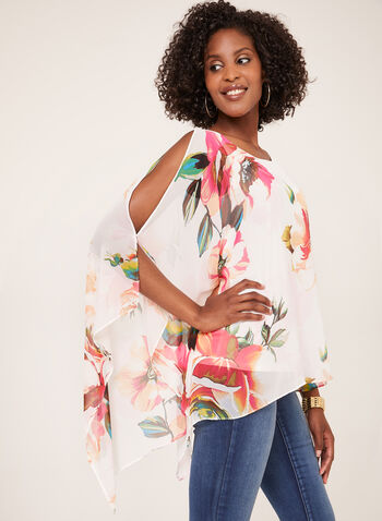 One Shoulder Poncho Blouse, White, hi-res