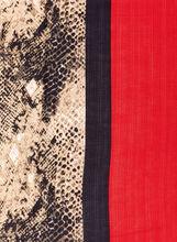 Snake Print Scarf, Red, hi-res