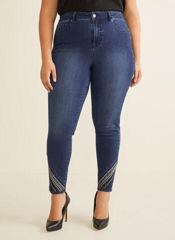 Jeans à jambe étroite et ourlet ornementé, Bleu,  jeans, jambe étroite, ourlet brodé, sequins, coton, poches, taille haute, longueur cheville, printemps été 2020