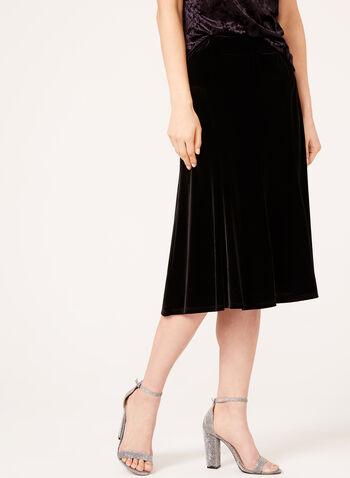 A-Line Velvet Skirt , Black, hi-res