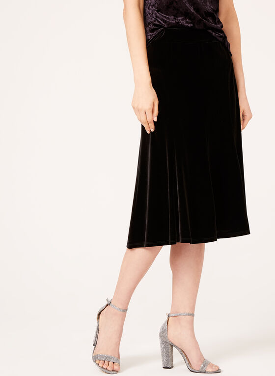 A-Line Velvet Skirt , Black, hi-res