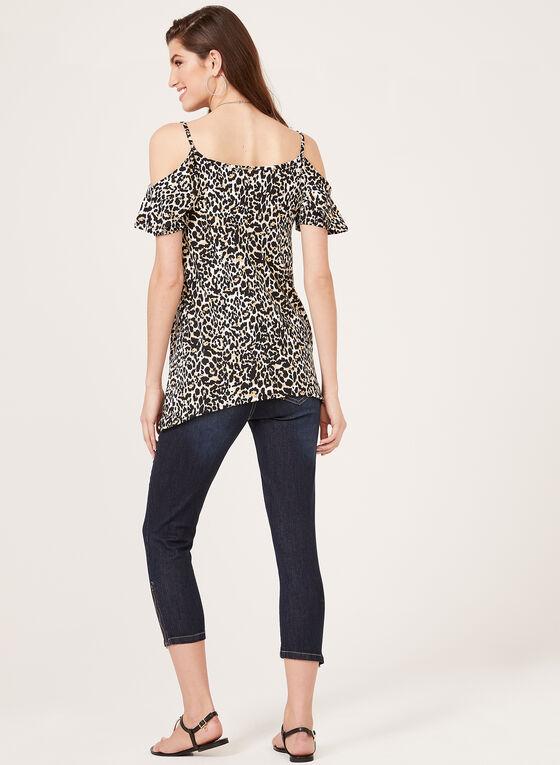 Enough About Me - Leopard Print Cold Shoulder Top, Brown, hi-res