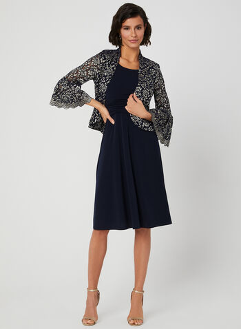 Jersey Dress & Lace Jacket, Blue, hi-res,  floral lace, bell sleeves, ¾ sleeves, 3/4 sleeves, spring 2019