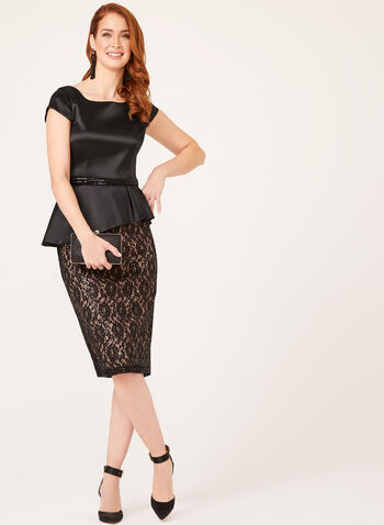 Belted Sequin Lace Peplum Dress, Black, hi-res