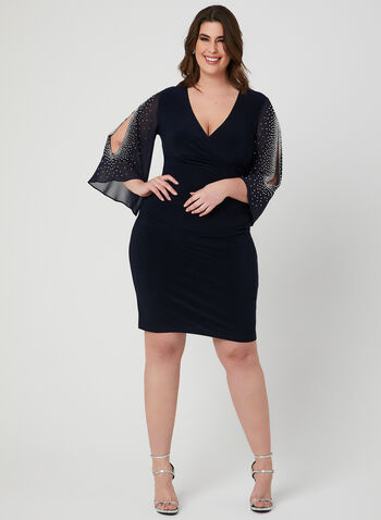 Joseph Ribkoff - Embellished Angel Sleeve Dress, Blue, hi-res