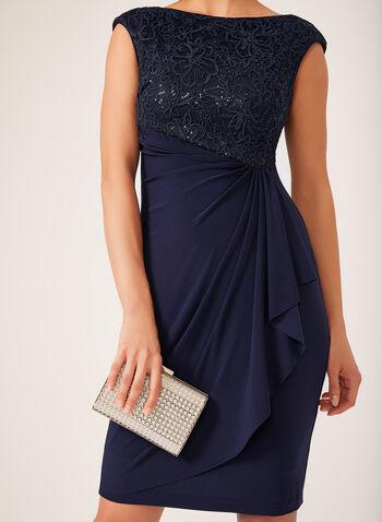 Sequin Lace Midi Dress, Blue, hi-res