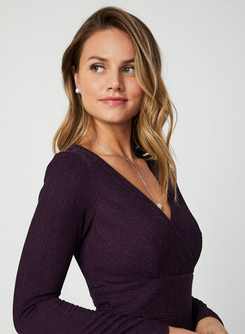 Metallic Wrap Dress, Purple,  fall winter 2019, long dress, long sleeves, metallic fabric