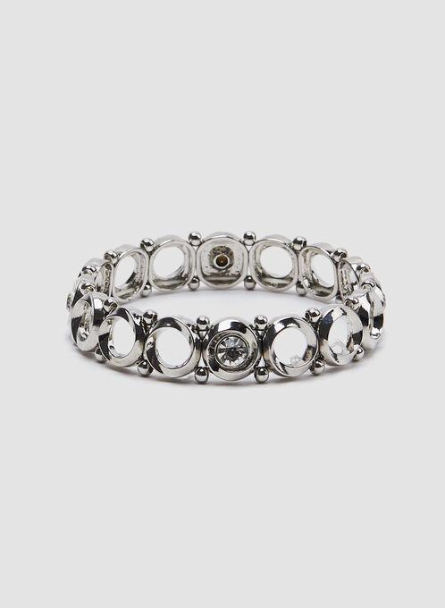 Bracelet extensible à cristaux, Argent, hi-res