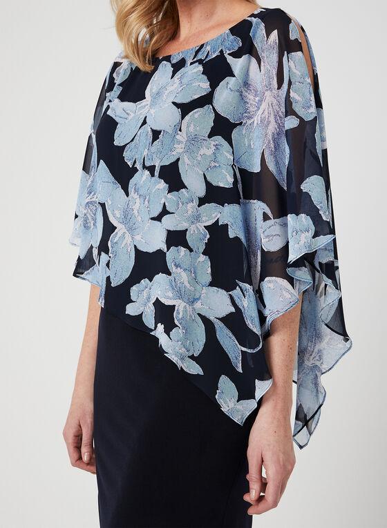 Floral Print Poncho Dress, Blue