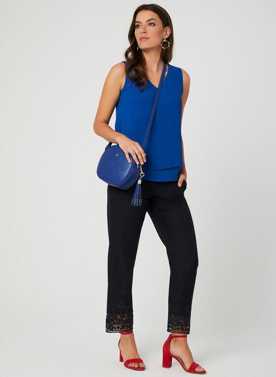Pantalon coupe moderne en lin mélangé, Bleu