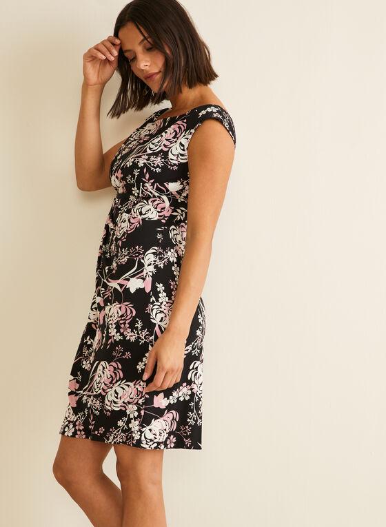 Textured Floral Print Jersey Dress, Black