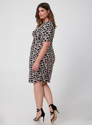 Ring Print Jersey Dress, Black, hi-res,  dress, day dress, jersey, elbow sleeves, textured, fall 2019, winter 2019