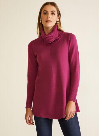 Tunique à col châle , Violet,  automne hiver 2020, haut, pull, tricot, manches longues, col châle, col roulé, tunique