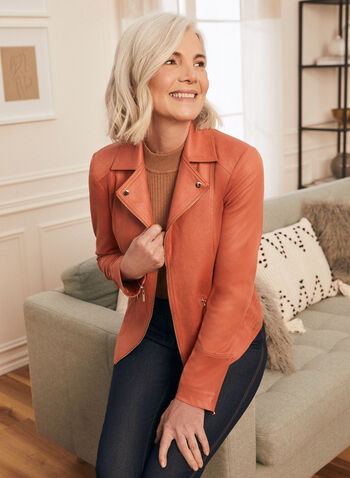 Faux Suede Open Front Blazer, Orange,  blazer, faux suede, open front, notched collar, zipper, spring summer 2021