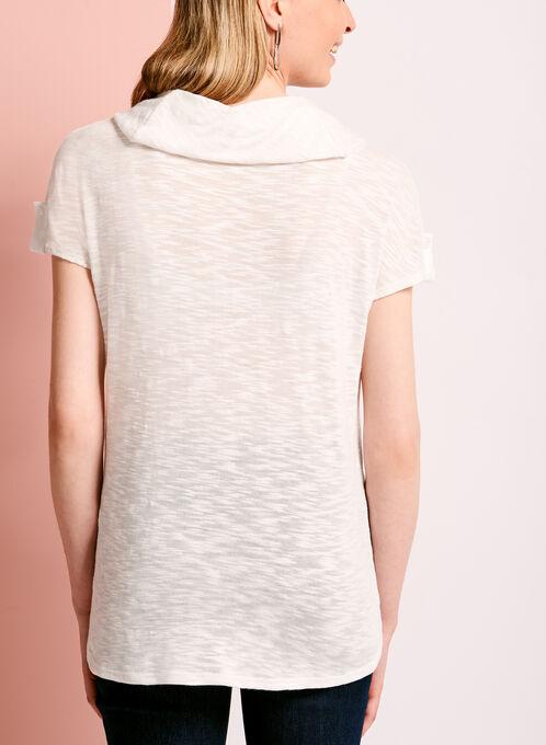 Cowl Neck Slub Knit Top, White, hi-res