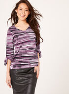 Abstract Print Jersey Top , Purple, hi-res