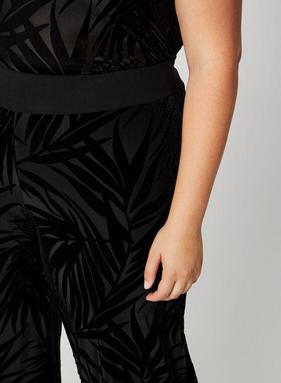 Wide Leg Velour Leaf Print Pants, Black
