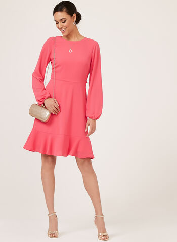 Jessica Howard - Balloon Sleeve Crepe Dress, Orange, hi-res