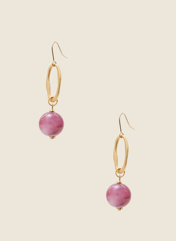 Marble Ball Dangle Earrings, Purple,  spring 2021, jewelry, jewellery, earrings, accessories, dangle, marble ball, open oval, two tiers, 2 tiers, evening