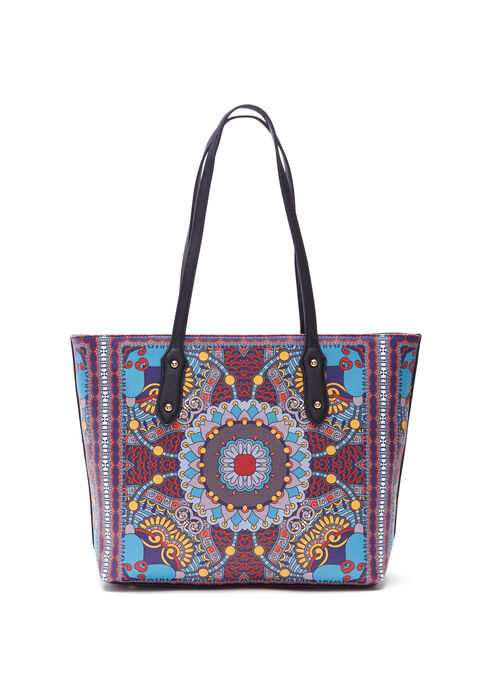 Geometric Print Tote Bag, Black, hi-res