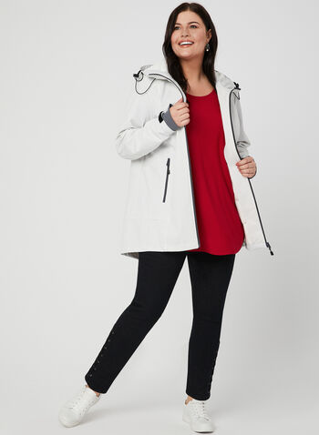 Novelti - Dot Print Raincoat, Off White, hi-res