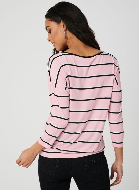 Stripe Print ¾ Sleeve Top, Multi, hi-res