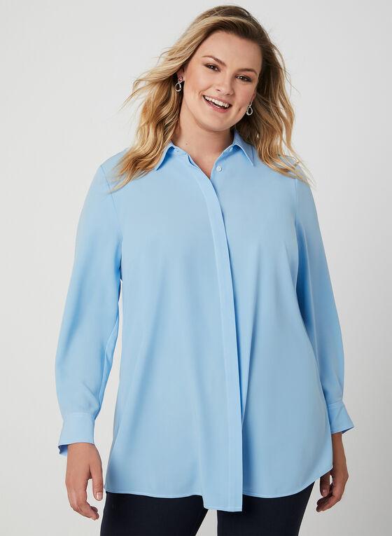 Contrast Stitch Long Sleeve Blouse, Blue