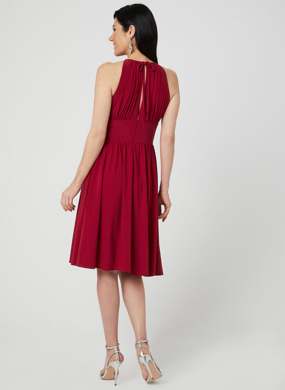 Empire Waist Halter Dress, Red, hi-res