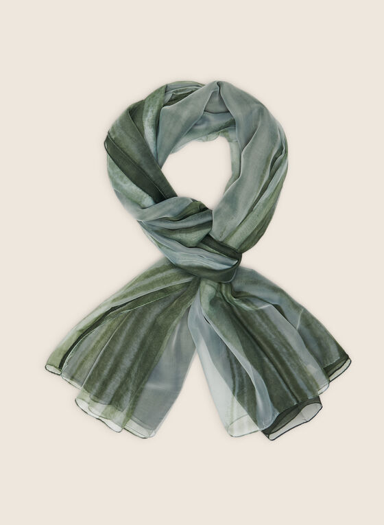 Oblong Abstract Print Scarf, Green