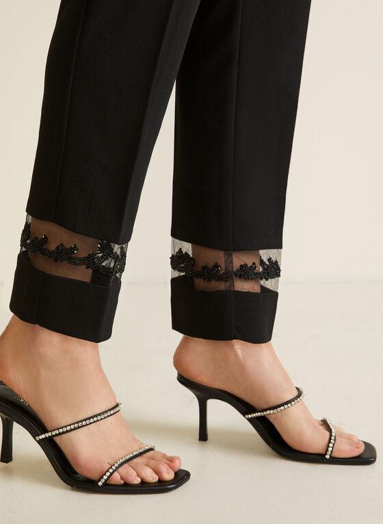 Straight Leg Mesh Detail Pants, Black