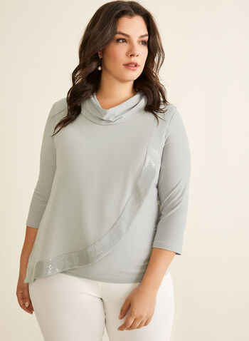 Joseph Ribkoff - Sequin Detail Asymmetric Top, Grey,  top, asymmetric, 3/4 sleeves, cowl neck, sequins, chiffon, jersey, stretchy, spring summer 2020
