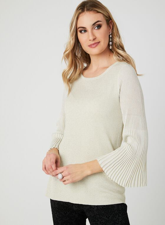 Bell Sleeve Lurex Sweater, White, hi-res