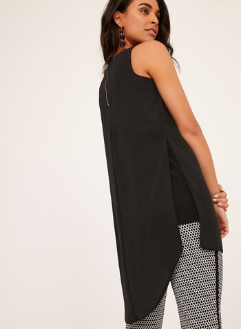 Criss Cross Neck Sleeveless Tunic , Black, hi-res