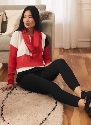 Colour Block Detachable Collar Sweater, Orange,  sweater, knit, colour block, long sleeves, detachable collar, spring summer 2021