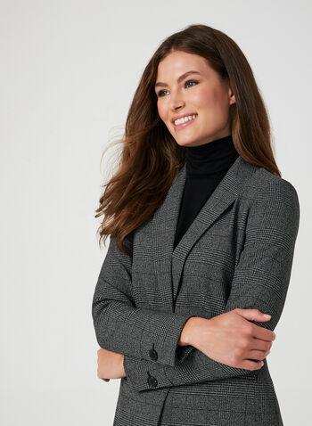 Blazer motif Prince-de-Galles, Noir, hi-res,  blazer, Prince-de-Galles, col cranté, épaulettes, fausses poches, automne hiver 2019