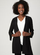 ¾ Sleeve Open Front Cardigan, Black