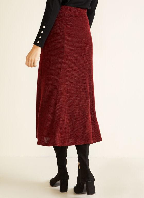 Jupe midi en tricot texturé, Rouge