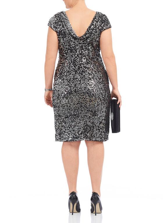 Short Sleeve Sequined Mesh Dress, Black, hi-res