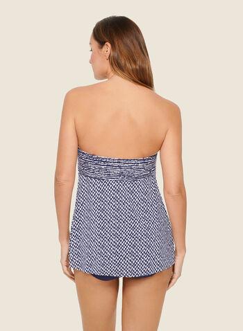 Christina - Maillot 1 pièce bustier motif abstrait , Bleu,  maillot de bain, 1 pièce, bustier, abstrait, évasé, printemps été 2020