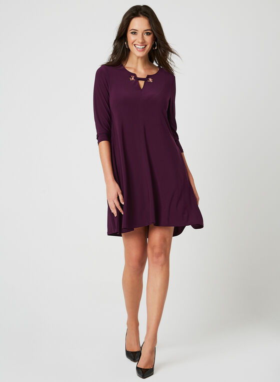 Nina Leonard - Lace Up Dress, Purple, hi-res