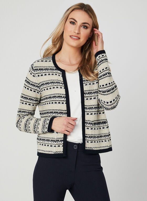Cardigan ouvert en tweed, Bleu, hi-res
