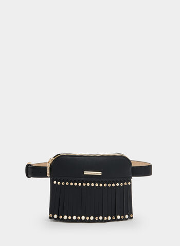 Fringe Belt Bag, Black, hi-res