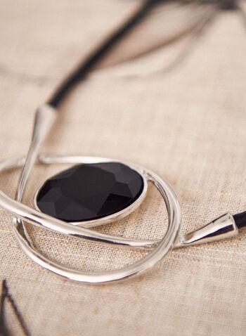 Collier court à pendentif en pierre ovale , Noir,  collier, court, accessoires, printemps été 2021, bijoux, corde, pendentif, pierre, texture