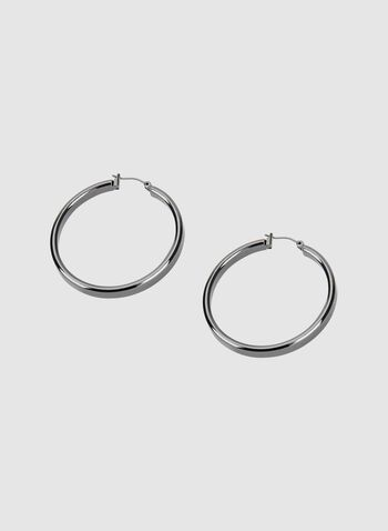 Hinged Hoop Earrings, Grey, hi-res