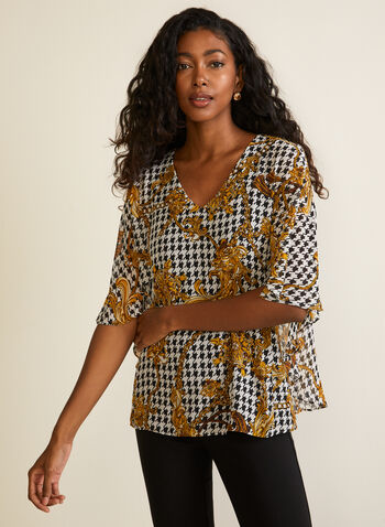 Houndstooth Print Chiffon Blouse, Brown,  fall winter 2020, top, blouse, houndstooth, draped sleeves, chiffon, v-neck