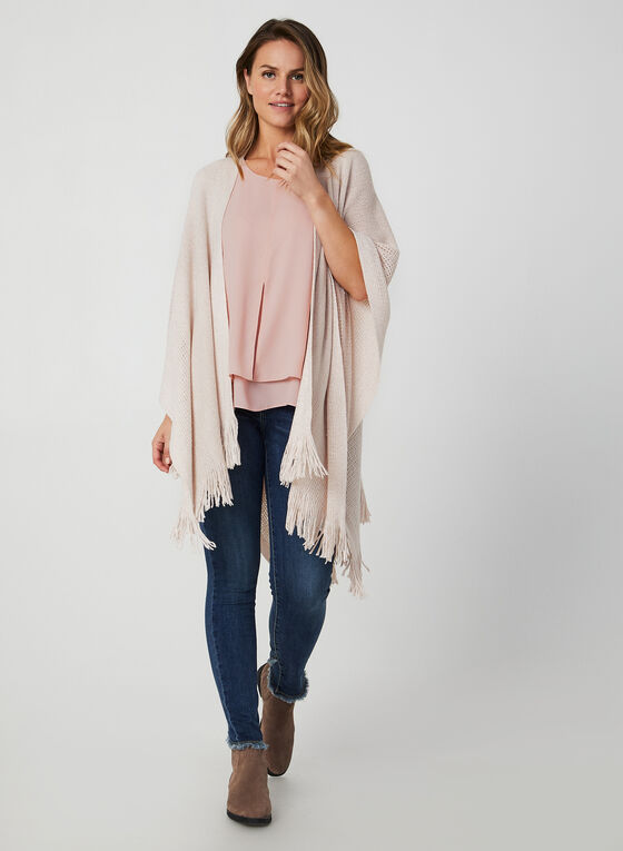 Echo New York - Fringed Pointelle Poncho, Pink