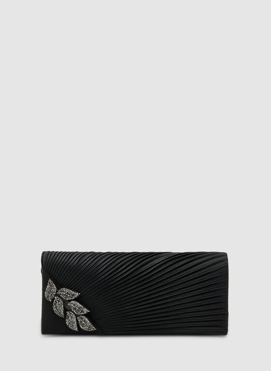 Pleated Satin Clutch, Black